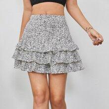 Dalmatian Print Layered Ruffle Skirt
