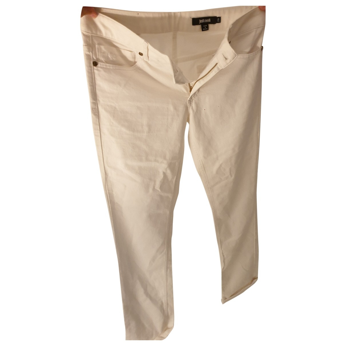 Just Cavalli \N White Cotton Trousers for Women 38 FR