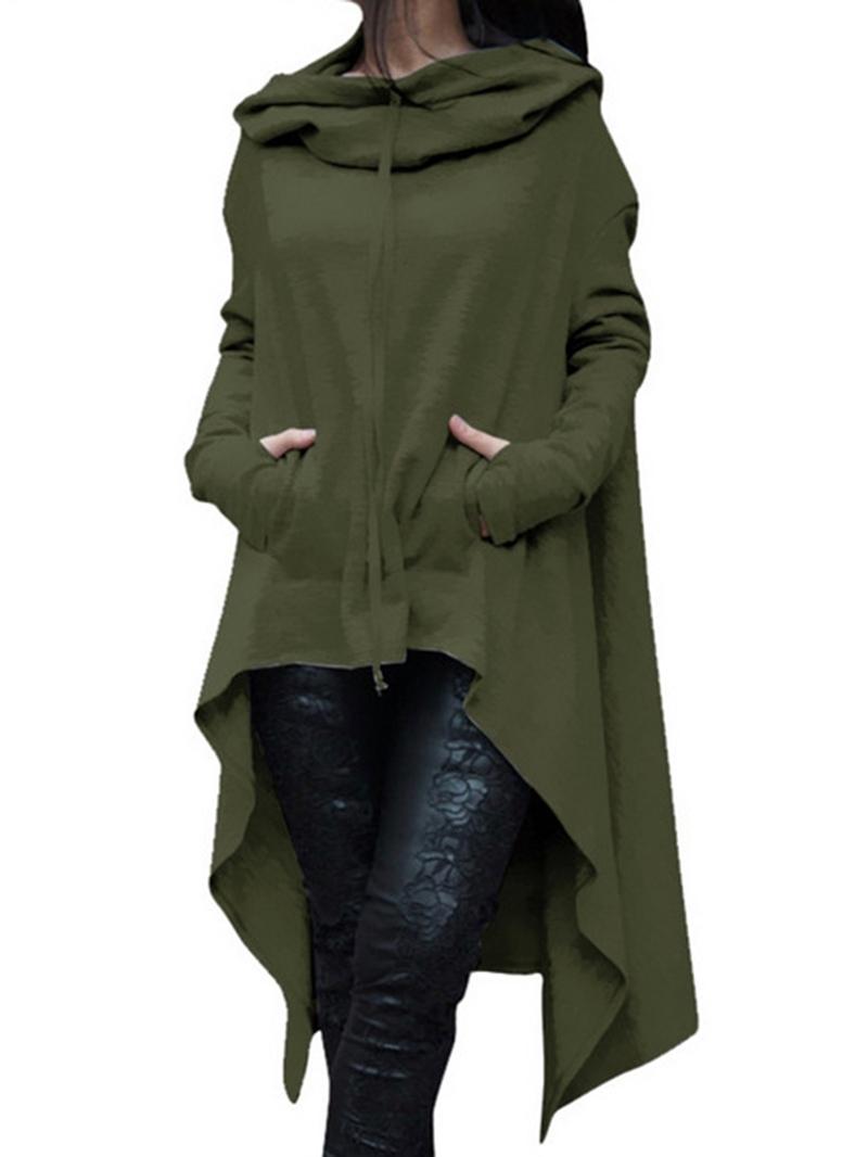 Ericdress Hooded Asymmetric Long Sleeve Plain Asymmetrical Dress