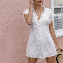 Button Front Batwing Sleeve Schiffy Romper