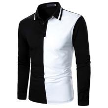 Zweifarbiges Polo Shirt mit halber Knopfleiste