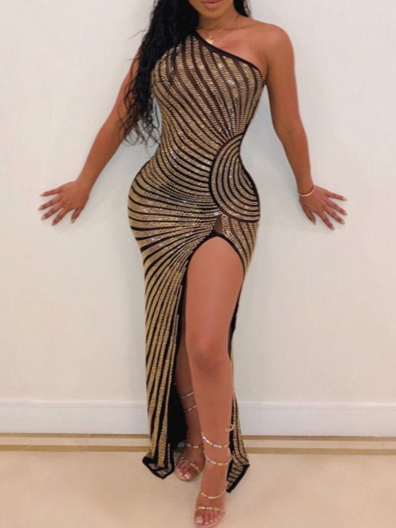 Ericdress Sleeveless Oblique Collar Split One-Shoulder Geometric Dress