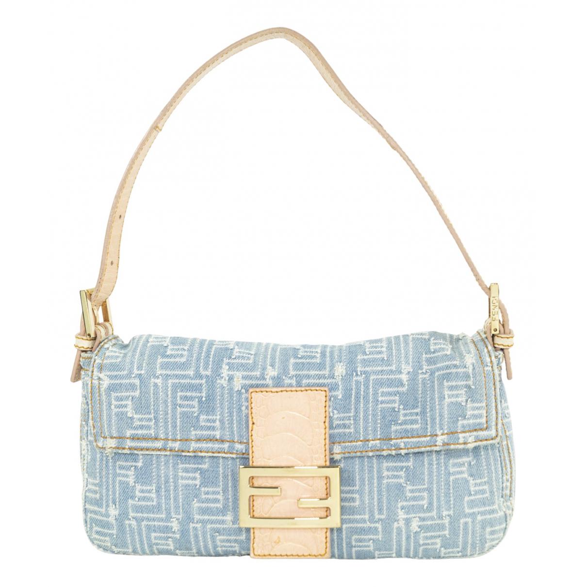 Fendi Baguette Blue Denim - Jeans handbag for Women N
