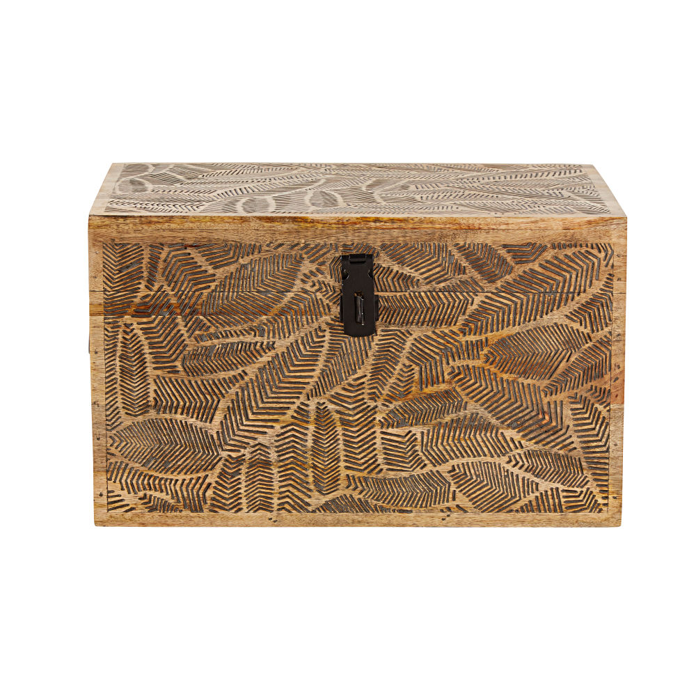 Koffer aus Mangoholz, schwarz mit geschnitzten Blattmotiven