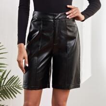 Solid PU Leather Bermuda Shorts