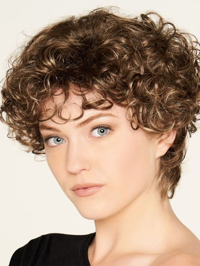 Ericdress Womens Short Length Hairstyles Kinky Curly Synthetic Hair Capless Wigs 10Inch