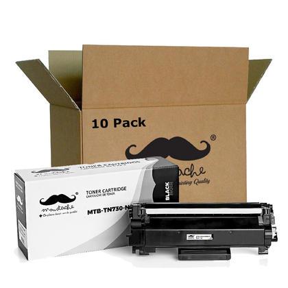 Compatible Brother TN730 Black Toner Cartridge - No Chip - Moustache@ - 10/Pack