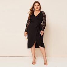 Plus Lace Sleeve Self Belted Wrap Dress