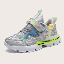 Girls Chinese Letter Graphic Velcro Strap Sneakers