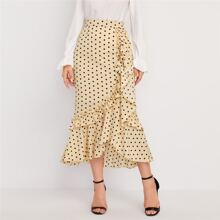 Polka Dot Frill Trim Asymmetrical Hem Skirt
