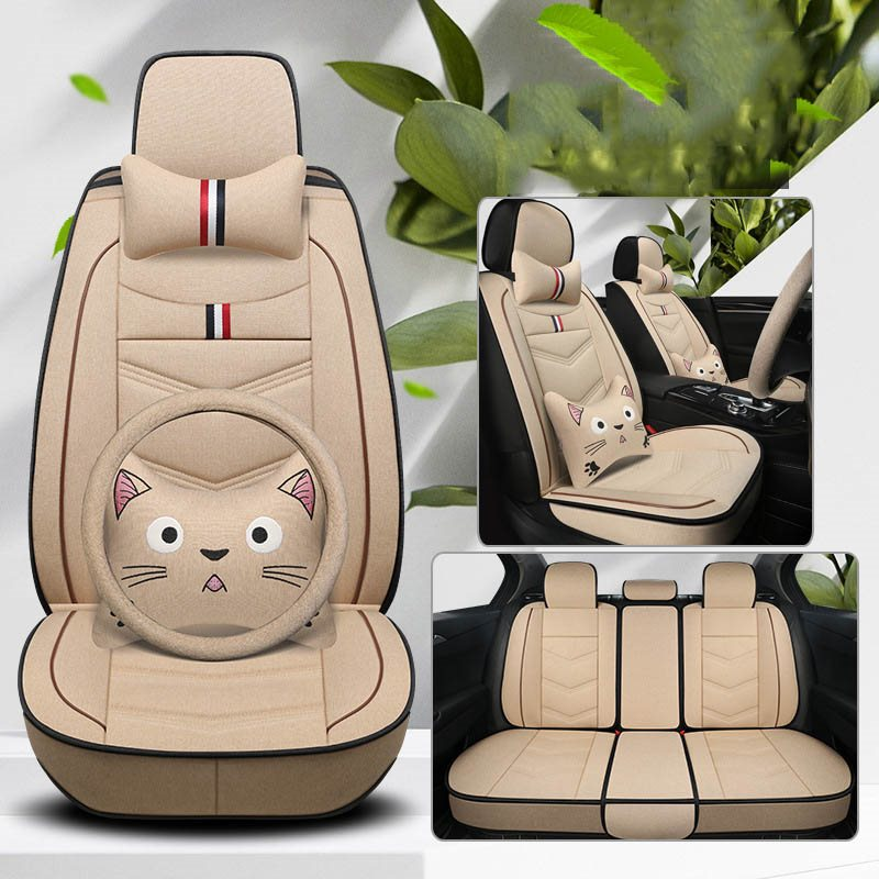 Cartoon Style Gawk Cat Pattern, Breathable Material, Skin-Friendly ,Scratch Resistant, All Seasons Universal Fit Seat Covers