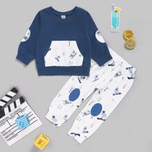 Baby Boy Kangaroo Pocket Sweatshirt & Cartoon Graphic Sweatpants