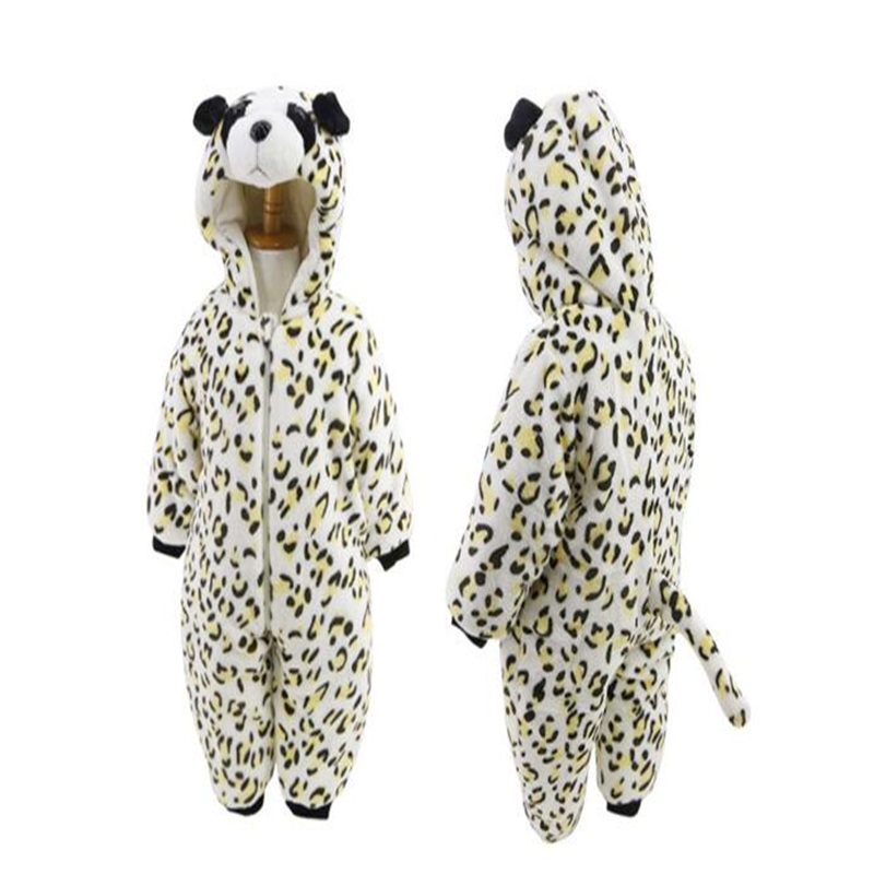 Panda Shape Leopard Flannel Baby Sleeping Bag/Jumpsuit