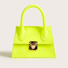 Neon Lime Push Lock Satchel Bag