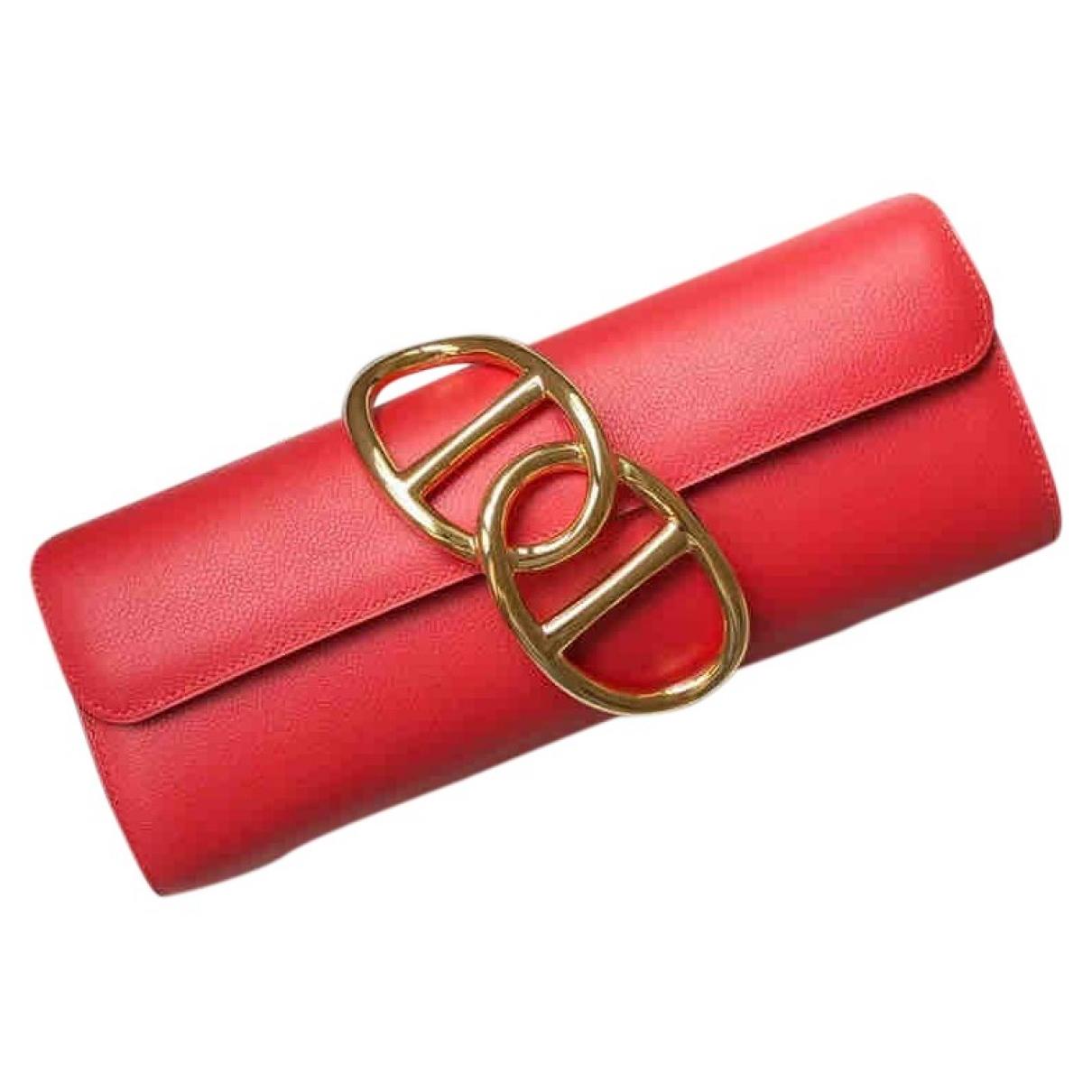 Hermes Egee Clutch in  Rot Leder