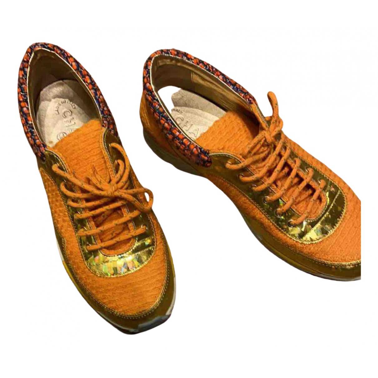 Chanel - Baskets   pour femme en tweed - orange
