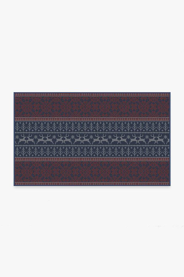 Washable Rug Cover | Fair Isle Red Rug | Stain-Resistant | Ruggable | 3'x5'