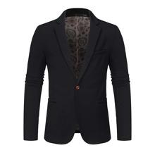 Men Lapel Collar Single Button Blazer