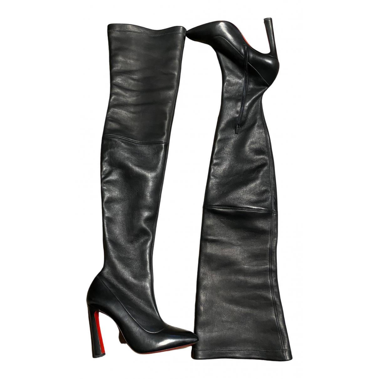 Christian Louboutin - Bottes   pour femme en cuir - noir