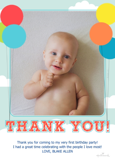 Kids Thank You Cards 5x7 Cards, Premium Cardstock 120lb with Elegant Corners, Card & Stationery -Sky and Clouds Thank You