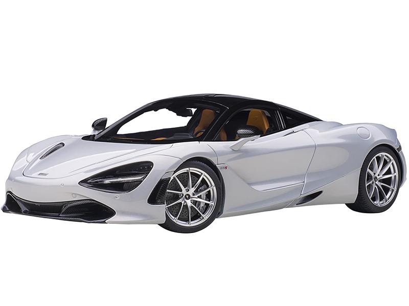 McLaren 720S Glacier White Metallic with Black Top 1/18 Model Car by Autoart