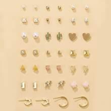 20 pares set pendientes con corazon con diamante de imitacion
