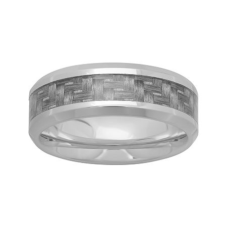 Personalized Mens 8mm Stainless Steel and Carbon Fiber Inlay Wedding Band, 14 1/2 , No Color Family