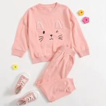 Toddler Girls Cartoon Graphic Drop Shoulder Sweatshirt With Sweatpants