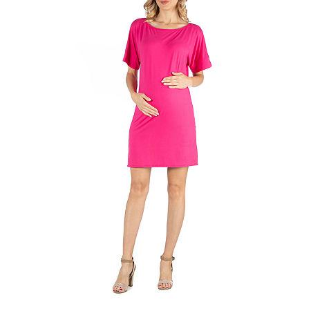 24/7 Comfort Apparel Scoop Neck Loose Fit Dolman Sleeve Dress, 2x , Pink