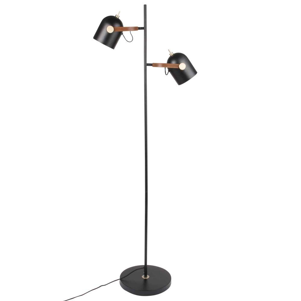 Doppel-Stehlampe aus Metall, schwarz H152