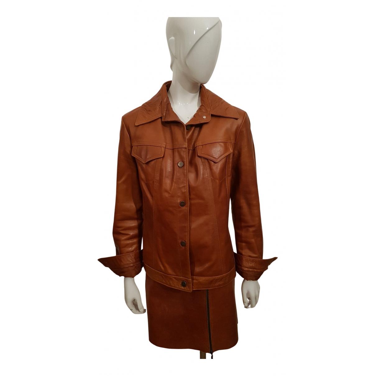 - Blouson   pour femme en cuir - orange