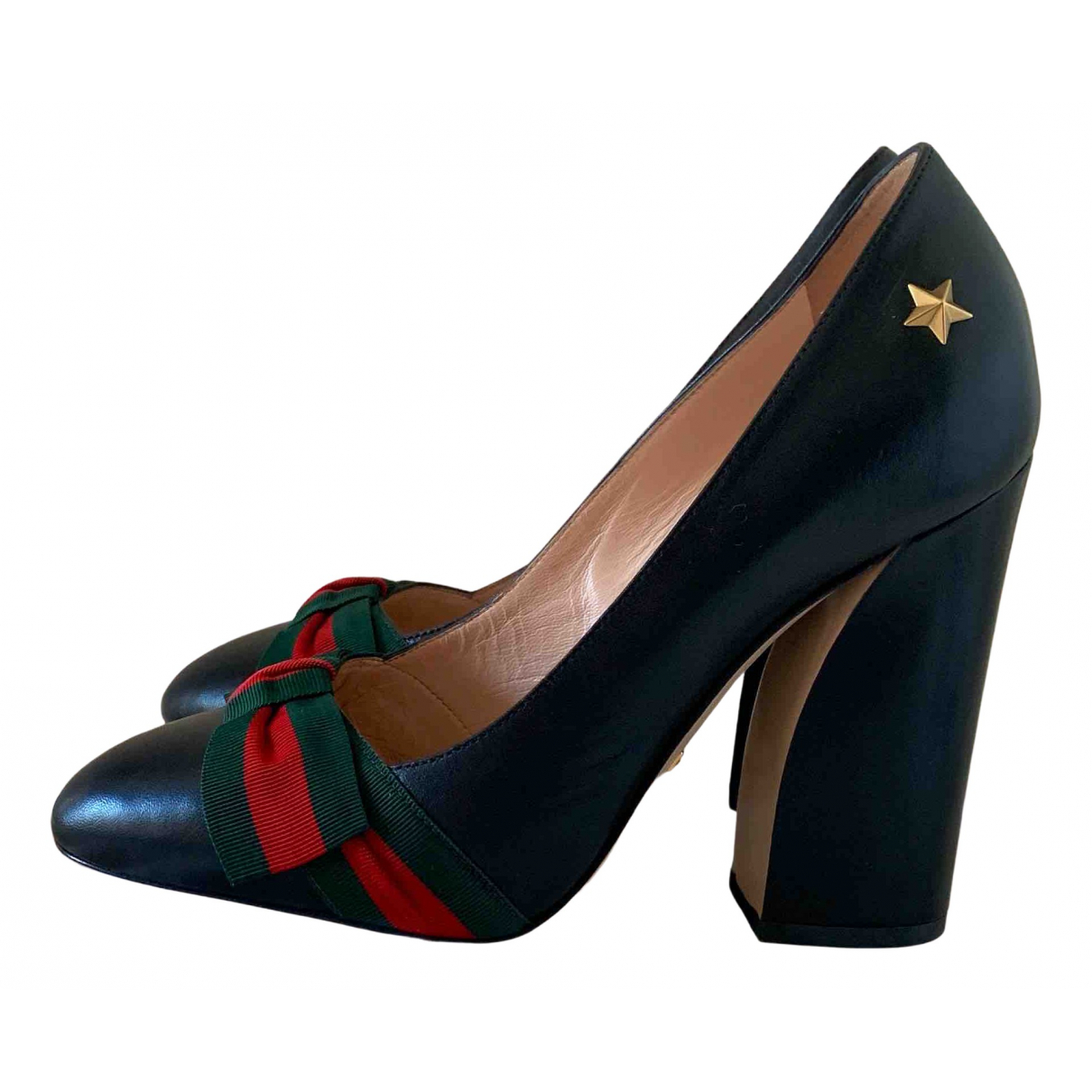 Gucci Sylvie Black Leather Heels for Women 37.5 EU