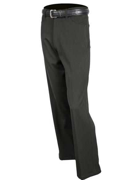 Mens Black Stretch Jean Solid Pattern Flat Front Dress Pants