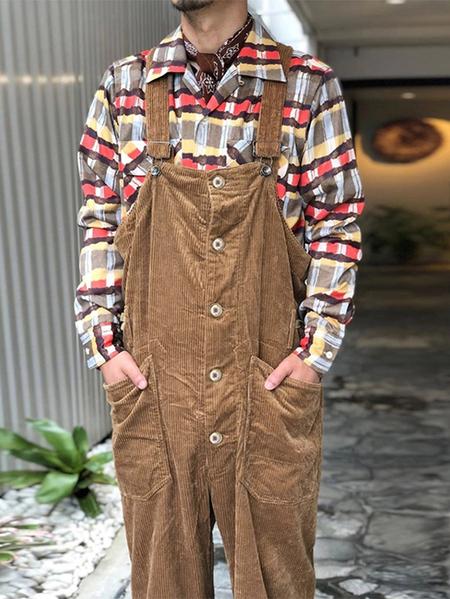 Yoins Men Casual Corduroy Striped Texture Strap Pants Overalls Bib Trousers