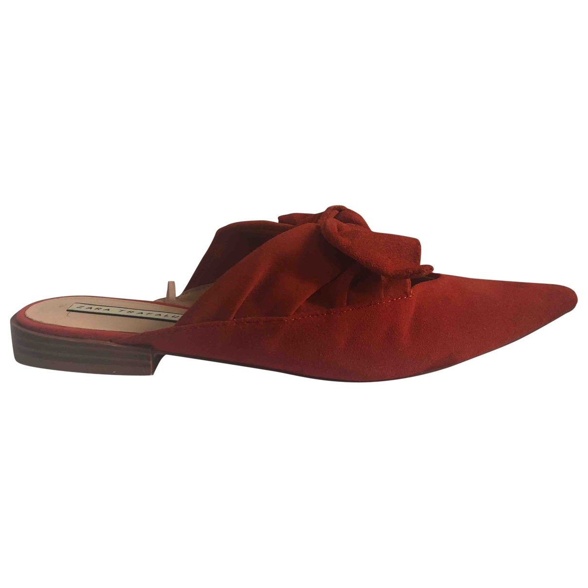 Zara - Sandales   pour femme en suede - orange
