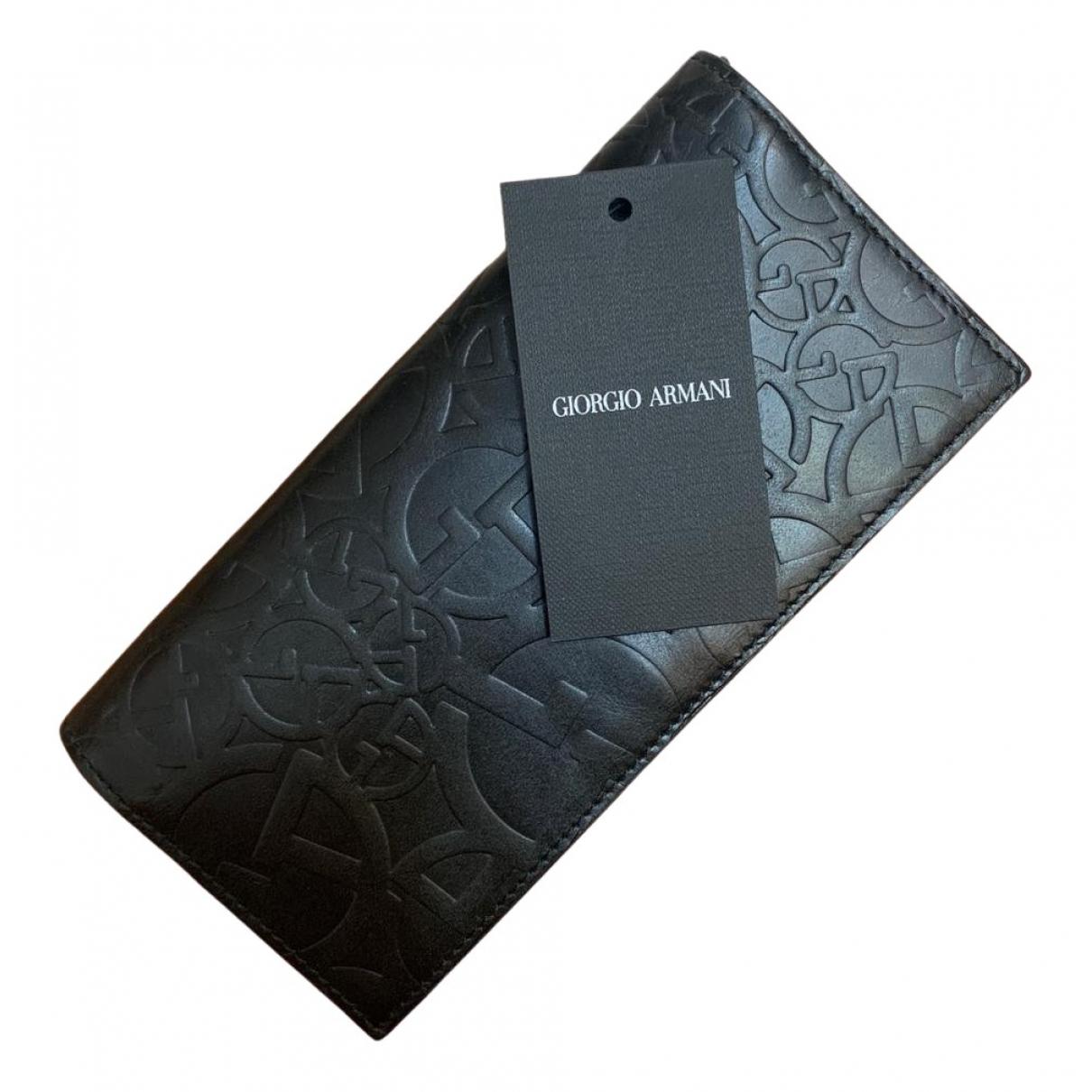 Giorgio Armani - Portefeuille   pour femme en cuir - noir
