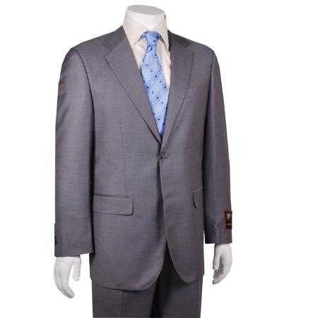 2 Button Solid Grey Suit Mens Cheap
