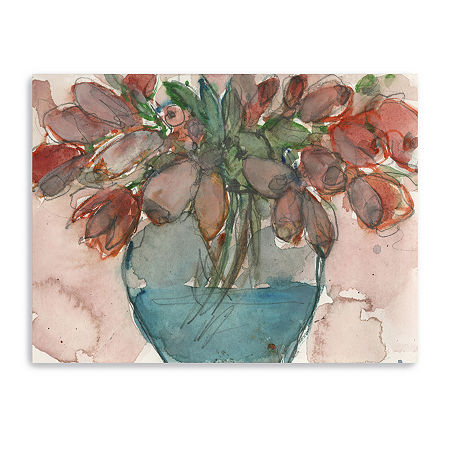 Elegance Bouquet I Giclee Canvas Art, One Size , Red