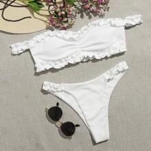 Rib Frill Trim Ruched Bardot Bikini Swimsuit