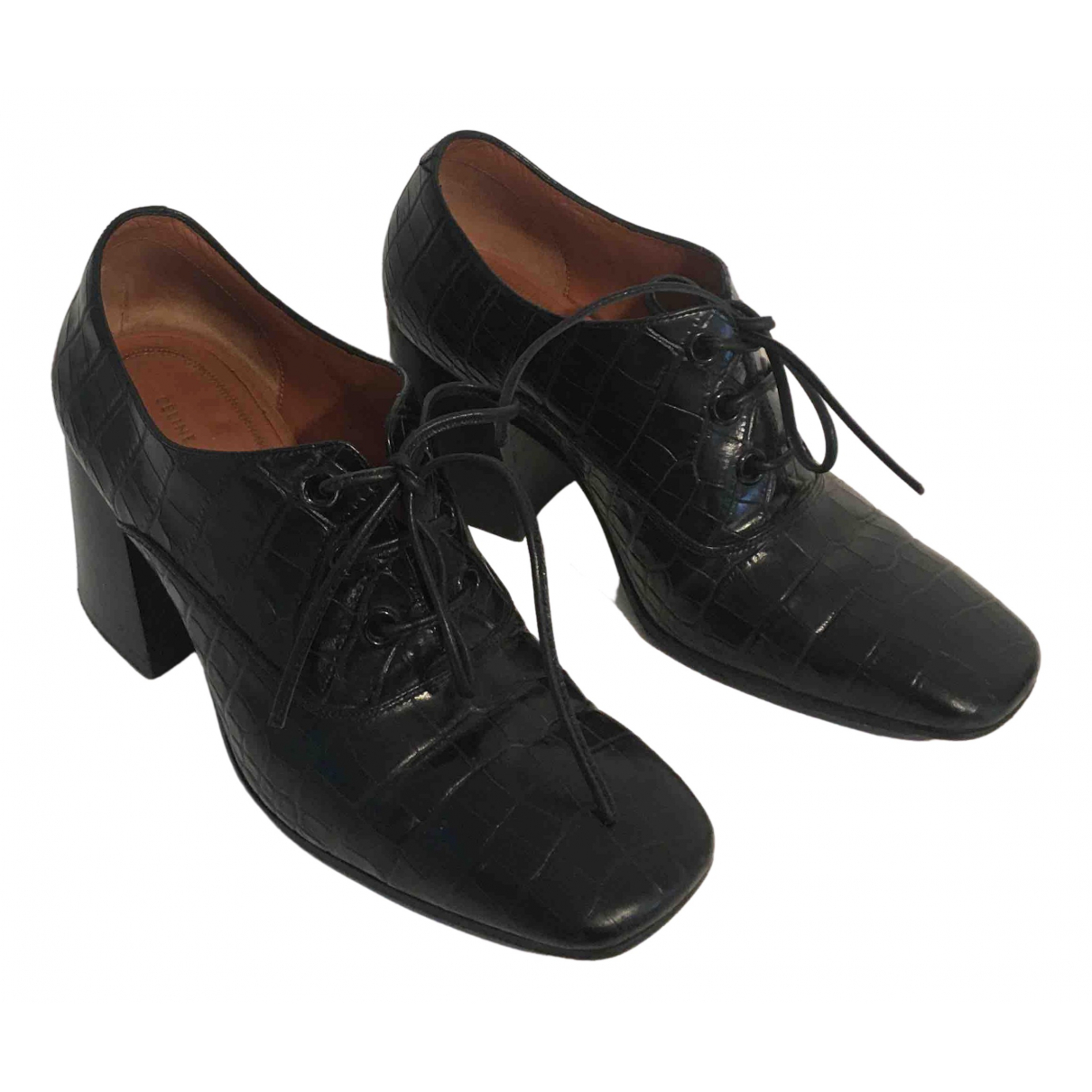 Celine \N Black Leather Lace ups for Women 36.5 EU