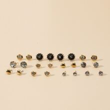 12pairs Rhinestone Decor Stud Earrings