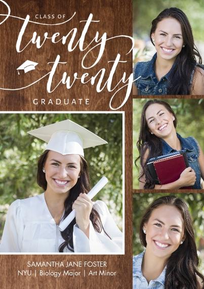2020 Graduation Announcements 5x7 Cards, Premium Cardstock 120lb with Scalloped Corners, Card & Stationery -Grad Twenty Twenty Memories Script by Tumb