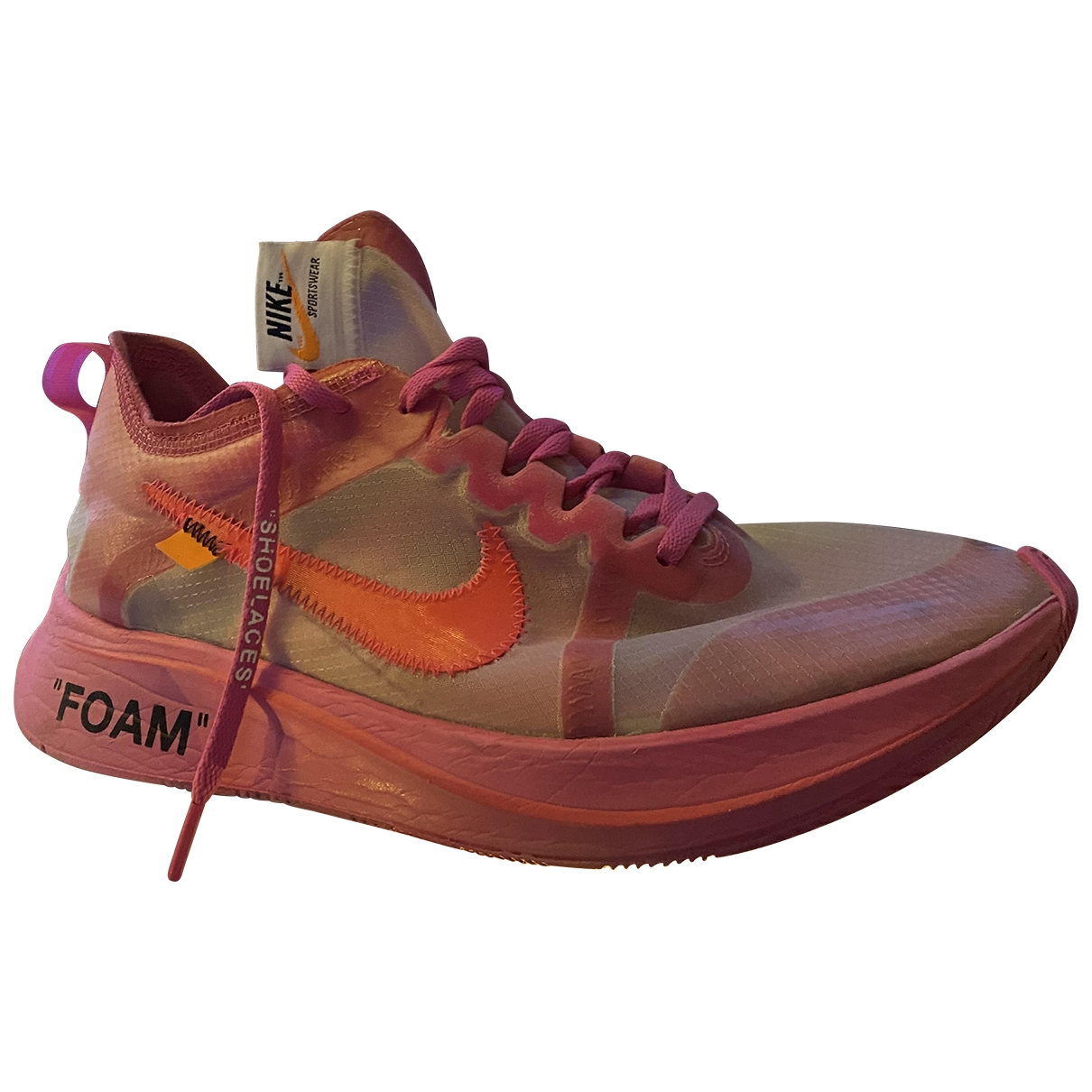 Nike X Off-white - Baskets Zoom Fly pour homme en toile - rose