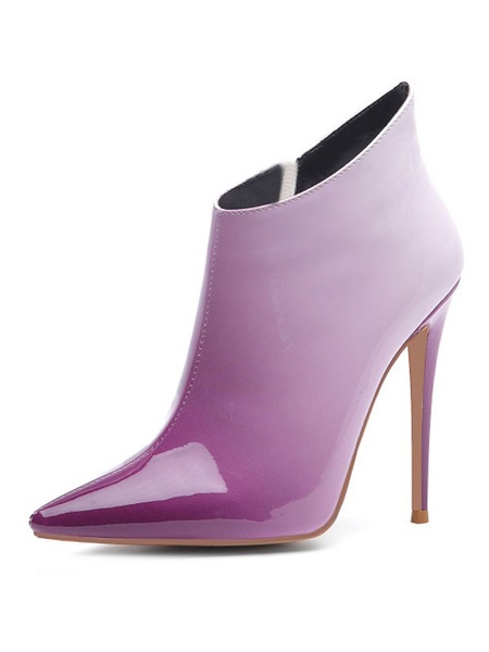Milanoo Women Ankle Boots PU Leather Purple Pointed Toe Ombre Purple Stiletto Heel Boots