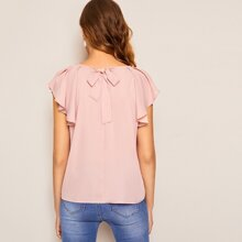 Einfarbige Bluse mit Band hinten, Raglanaermeln und Ruesche