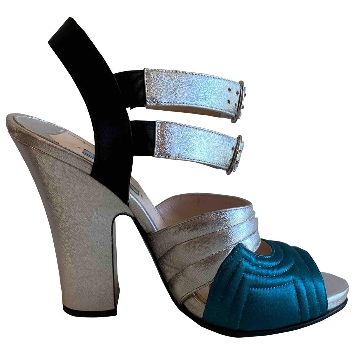Prada \N Silver Leather Sandals for Women 40 EU