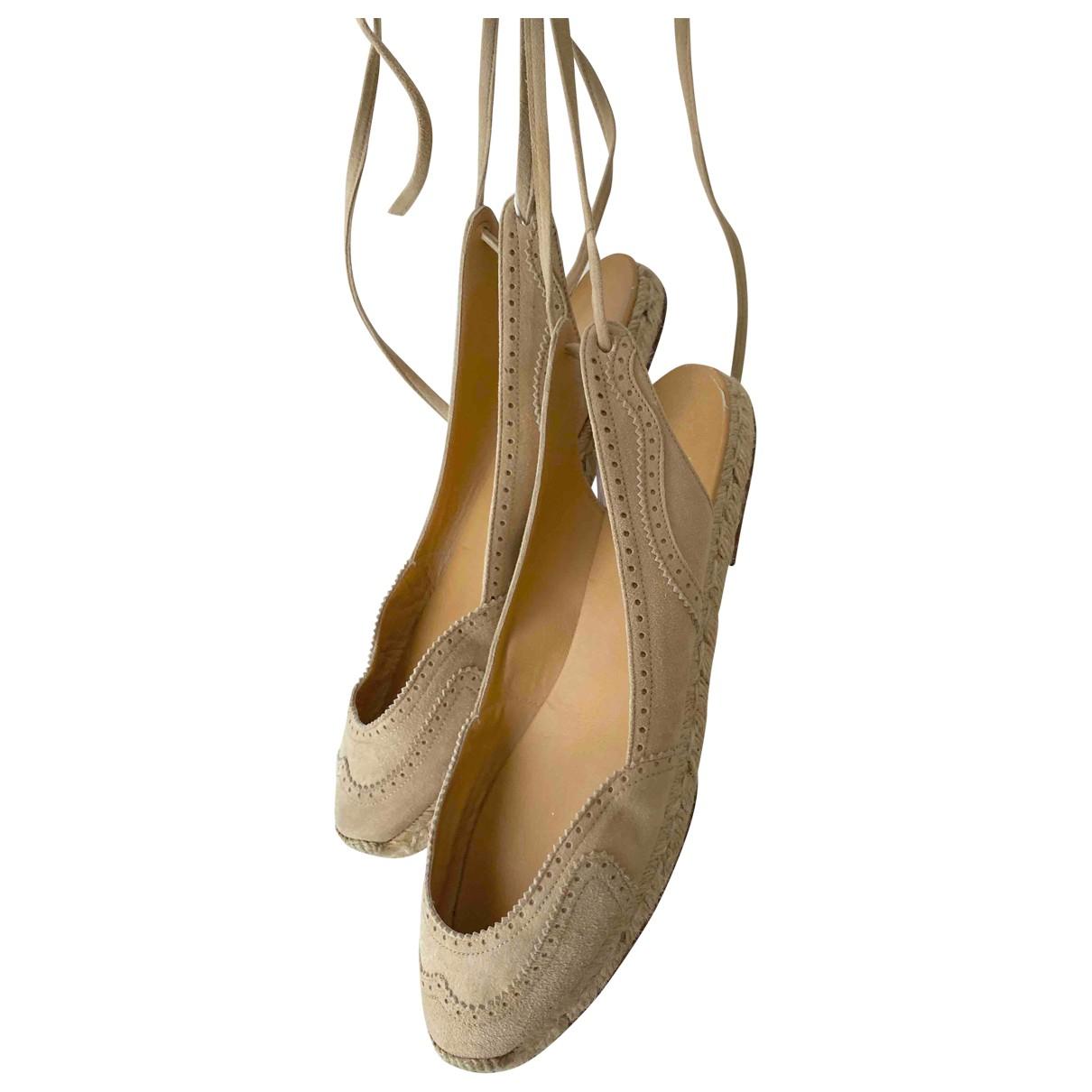 Hermes - Espadrilles   pour femme en toile - beige