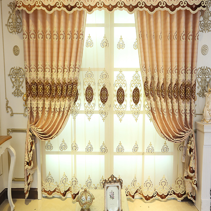 Embroidery Drapes Grommet Tops Curtain 2 Panels Sheer for Any Room