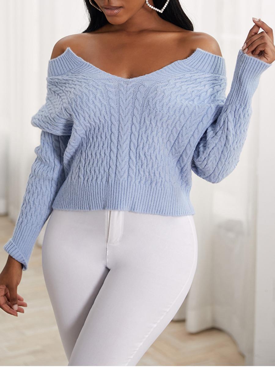 LW lovely Stylish Dew Shoulder Baby Blue Sweater