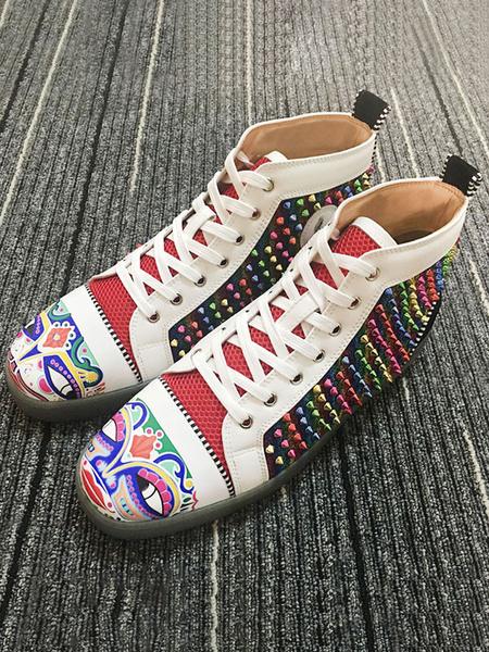 Milanoo Zapatos casuales para hombres Remaches rojos con punta redonda Zapatos para hombres Zapatos con cordones para obras de arte